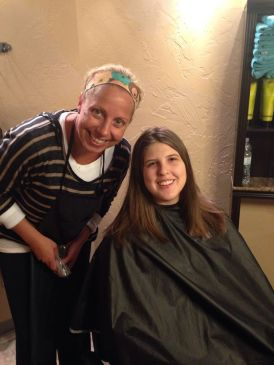 Me and my hair dresser. My hair was all the way past my shoulders.